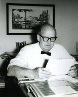 Woodie Garber in Office with Procter Hall Drawing