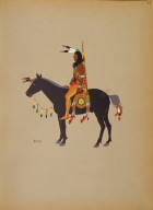 [Kiowa Indian Art: watercolor paintings in color by the Indians of Oklahoma, Kiowa Warrior on Horseback]