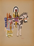 [Kiowa Indian Art: watercolor paintings in color by the Indians of Oklahoma, Kiowa Warrior and Wife]