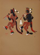 [Kiowa Indian Art: watercolor paintings in color by the Indians of Oklahoma, Dance of the Dog Soldiers]