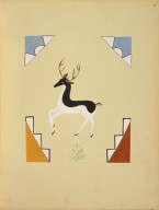 [Pueblo Indian painting; 50 reproductions of watercolor paintings by Indian artists of the New Mexican pueblos of San Ildefonso and Sia, Deer]