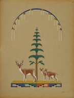 [Pueblo Indian painting; 50 reproductions of watercolor paintings by Indian artists of the New Mexican pueblos of San Ildefonso and Sia, Landscape Showing Deer with Tree and Rainy Sky]