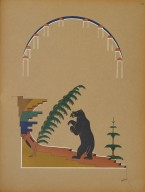 [Pueblo Indian painting; 50 reproductions of watercolor paintings by Indian artists of the New Mexican pueblos of San Ildefonso and Sia, Landscape Showing Bear in the Mountains]
