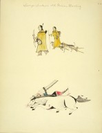 [Sioux Indian painting, Warior Falling From his Wounded and Dying Pony]