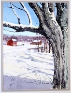 Snow Scene with Tree and Red House