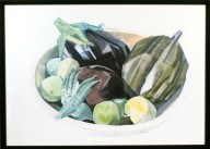 Eggplant and Fruit in Bowl