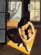 Seated Nude in Japanese Home