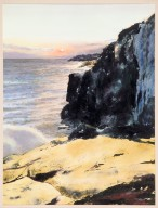 Seascape with Black Cliff and Rising Sun