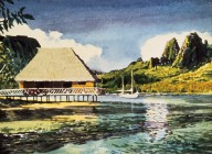 Tropical Harbor with Hut