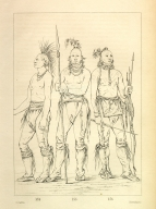 [He Who Is Not Afraid, Big Crow, and Man of the Bed, three young warriors, Letters and Notes on the Manners, Customs, and Condition of the North American Indians.]
