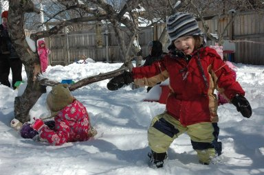 CHILDREN AND SNOW IN NEW YORK