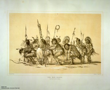 [Catlin's North American Indian Portfolio. Hunting Scenes and Amusements of the Rocky Mountains and Prairies of America., The War Dance.]