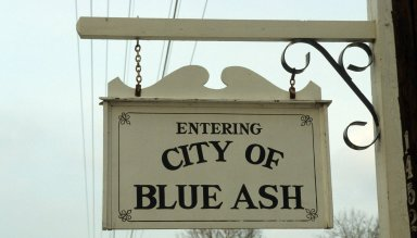 "Sign ""Entering City of Blue Ash"""
