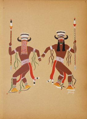 [Kiowa Indian Art: watercolor paintings in color by the Indians of Oklahoma, Buffalo Dance]