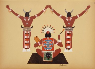 [Kiowa Indian Art: watercolor paintings in color by the Indians of Oklahoma, Greeting of Thee [sic] Moon God]