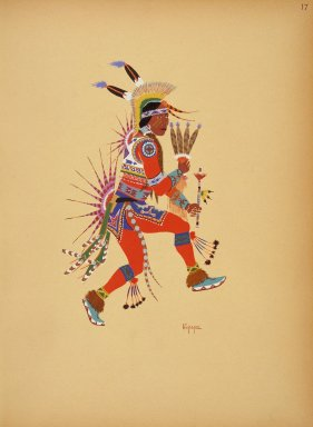 [Kiowa Indian Art: watercolor paintings in color by the Indians of Oklahoma, Flute Player]