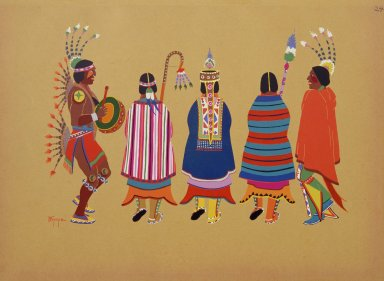 [Kiowa Indian Art: watercolor paintings in color by the Indians of Oklahoma, Squaw Dance]