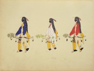 [Pueblo Indian painting; 50 reproductions of watercolor paintings by Indian artists of the New Mexican pueblos of San Ildefonso and Sia, Male Figures in the Costume of the Hunter in the Buffalo Dance]
