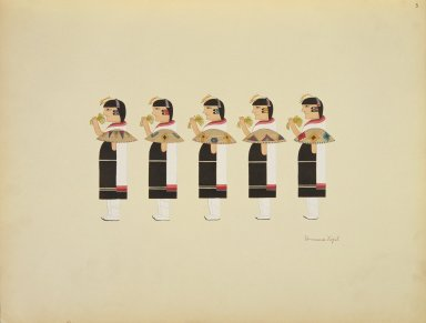 [Pueblo Indian painting; 50 reproductions of watercolor paintings by Indian artists of the New Mexican pueblos of San Ildefonso and Sia, Procession of Female Figures Representing Women in the Costume of the Basket Dance]