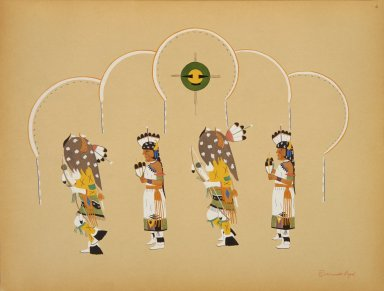 [Pueblo Indian painting; 50 reproductions of watercolor paintings by Indian artists of the New Mexican pueblos of San Ildefonso and Sia, Male and Female Figures from the Buffalo Dance]