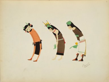 [Pueblo Indian painting; 50 reproductions of watercolor paintings by Indian artists of the New Mexican pueblos of San Ildefonso and Sia, Corn Dance Figures]