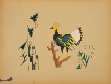[Pueblo Indian painting; 50 reproductions of watercolor paintings by Indian artists of the New Mexican pueblos of San Ildefonso and Sia, Grouse or Turkey]