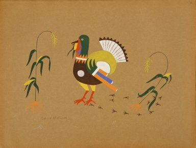 [Pueblo Indian painting; 50 reproductions of watercolor paintings by Indian artists of the New Mexican pueblos of San Ildefonso and Sia, Turkey with Maize]