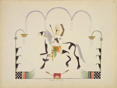 [Pueblo Indian painting; 50 reproductions of watercolor paintings by Indian artists of the New Mexican pueblos of San Ildefonso and Sia, Warrior Mounted on Pinto Pony]