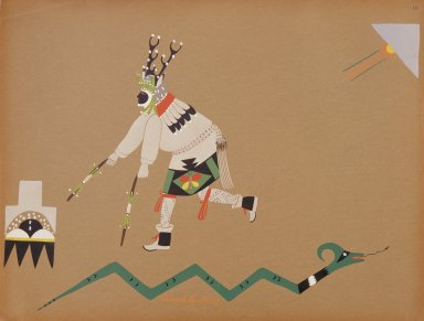 [Pueblo Indian painting; 50 reproductions of watercolor paintings by Indian artists of the New Mexican pueblos of San Ildefonso and Sia, Deer Dancer]