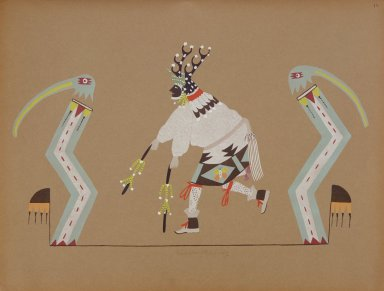 [Pueblo Indian painting; 50 reproductions of watercolor paintings by Indian artists of the New Mexican pueblos of San Ildefonso and Sia, Buck in Deer Dance]