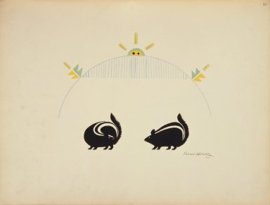 [Pueblo Indian painting; 50 reproductions of watercolor paintings by Indian artists of the New Mexican pueblos of San Ildefonso and Sia, Sun Rising above the Rain Cloud]