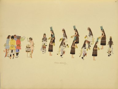 [Pueblo Indian painting; 50 reproductions of watercolor paintings by Indian artists of the New Mexican pueblos of San Ildefonso and Sia, Corn Dance]