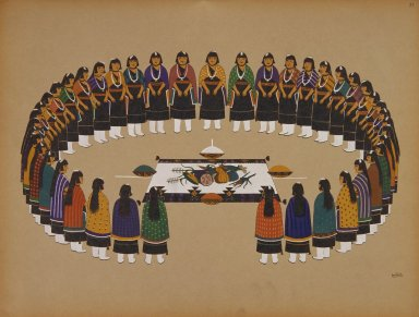 [Pueblo Indian painting; 50 reproductions of watercolor paintings by Indian artists of the New Mexican pueblos of San Ildefonso and Sia, Circle of Women Dancers in Harvest Festival]