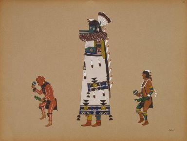 [Pueblo Indian painting; 50 reproductions of watercolor paintings by Indian artists of the New Mexican pueblos of San Ildefonso and Sia, Gigantesque Figure from the Shalako Dance of the Pueblo of Zuni]
