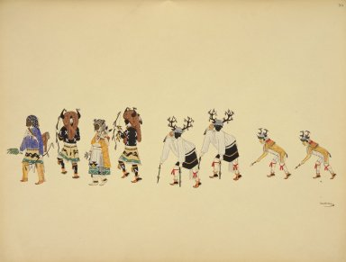 [Pueblo Indian painting; 50 reproductions of watercolor paintings by Indian artists of the New Mexican pueblos of San Ildefonso and Sia, Hunters' or Deer Dance]