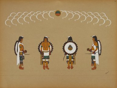 [Pueblo Indian painting; 50 reproductions of watercolor paintings by Indian artists of the New Mexican pueblos of San Ildefonso and Sia, Hunter's Dance]