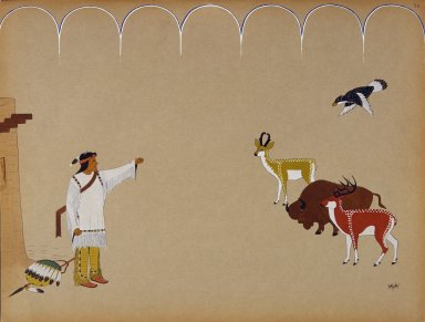 [Pueblo Indian painting; 50 reproductions of watercolor paintings by Indian artists of the New Mexican pueblos of San Ildefonso and Sia, Montezuma Summoning the Animals]
