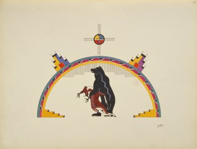 [Pueblo Indian painting; 50 reproductions of watercolor paintings by Indian artists of the New Mexican pueblos of San Ildefonso and Sia, Bear with Body of a Deer]