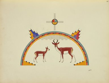 [Pueblo Indian painting; 50 reproductions of watercolor paintings by Indian artists of the New Mexican pueblos of San Ildefonso and Sia, Antelope]