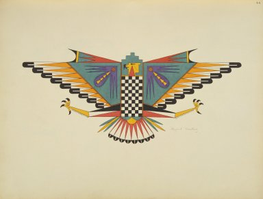 [Pueblo Indian painting; 50 reproductions of watercolor paintings by Indian artists of the New Mexican pueblos of San Ildefonso and Sia, Symbolic Bird Made of Cloud and Rain Signs with the Head of an Eagle Surmounted by Cloud Terrace]