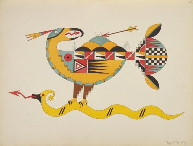 [Pueblo Indian painting; 50 reproductions of watercolor paintings by Indian artists of the New Mexican pueblos of San Ildefonso and Sia, Thunderbird Holding the Avanyu]