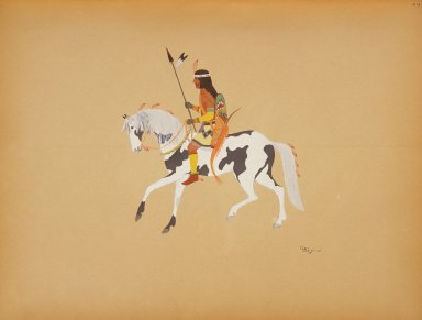 [Pueblo Indian painting; 50 reproductions of watercolor paintings by Indian artists of the New Mexican pueblos of San Ildefonso and Sia, Warrior on a Pinto Pony]