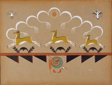 [Pueblo Indian painting; 50 reproductions of watercolor paintings by Indian artists of the New Mexican pueblos of San Ildefonso and Sia, Antelopes Running Under Rainy Skies]