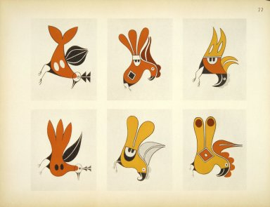 [Pueblo Indian Pottery; 50 reproductions in color from specimen in the famous collection of the Indian arts fund, Group of Bird Designs from Acoma Pottery]