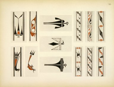 [Pueblo Indian Pottery; 50 reproductions in color from specimen in the famous collection of the Indian arts fund, Group of Designs from Zuni Pottery]