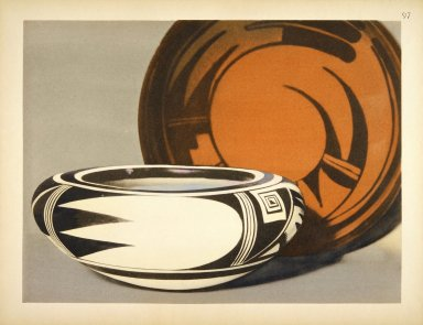 [Pueblo Indian Pottery; 50 reproductions in color from specimen in the famous collection of the Indian arts fund, Modern Copies of Pre-Columbian Forms and Designs from Hano]