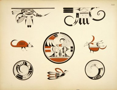 [Pueblo Indian Pottery; 50 reproductions in color from specimen in the famous collection of the Indian arts fund, Group of Designs from Antique and Modern Hopi Ware]