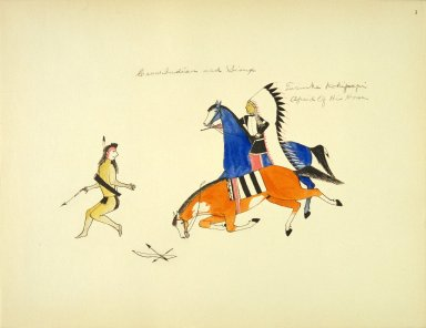 [Sioux Indian painting, The Celebrated Sioux Chieftain Afraid-of-his-Horses (Tasinke Kokipapoi) Attacking a Crow Indian]