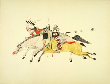 [Sioux Indian painting, Red Walker and a Companion Fleeing From Pursuing Crow Indians]