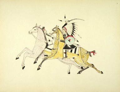 [Sioux Indian painting, Sioux Warrior Armed with Saber Attacking a Crow Indian]